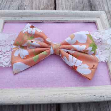 Vintage floral Hawaiian fabric bow lace headbands for babies, toddlers, teens, and adults.          ~FABRIC BOW DEPOT~