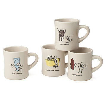 Bad Dog Wisdom Diner Mugs - Set of 4 | dog glasses, pet, dog lover gift