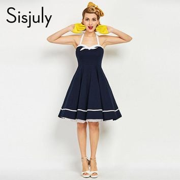 Women Vintage Dress Nautical Style Bow Knot Sexy Retro Dresses Luxury Dark Blue Female Summer Strap Vintage Dresses New