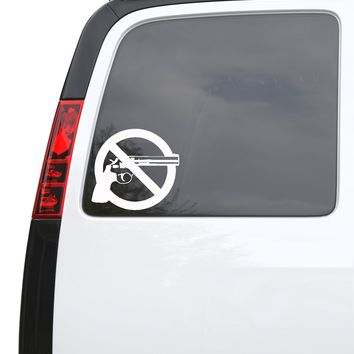 "Auto Car Sticker Decal No Guns Peace Revolver Truck Laptop Window 5.4"" by 5"" Unique Gift z418c"