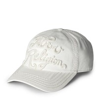 True Religion Tonal 3d Logo Baseball Cap - White