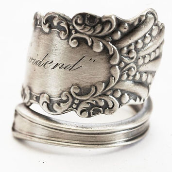 "Spoon Ring Victorian Engraved ""Dividend"" 1940 Coronado Pattern Sterling Silver Spoon Ring by Watson, Handmade in your Size (4387)"