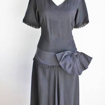 Vintage 1940s Black Kay Collier Crepe Dress With Big Bow, Polonaise Peplum