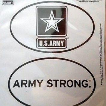 Army 2-Pack EURO STYLE Oval Home Auto Decals Sticker United States US Military