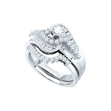 10kt White Gold Womens Diamond Round Bridal Wedding Engagement Ring Band Set 1.00 Cttw 57480