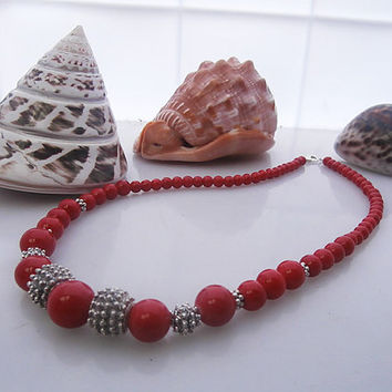 Red Coral and 925 Sterling Silver Granulation Beads Necklace, Red Coral and Solid Silver Bali Beads Necklace