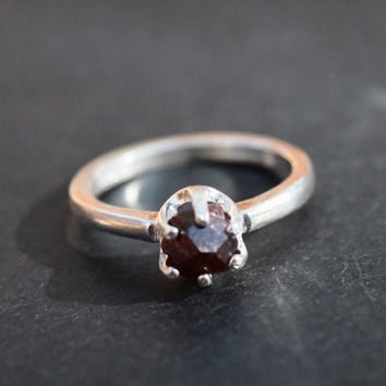 Raw Garnet Ring Gemstone Jewelry Uncut Natural Garnet Ring Alaskan Garnet