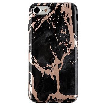 Black Marble Rose Gold Chrome iPhone Case