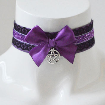 Gothic choker - Demonic magic - kitten play purple and black and collar with pentagram pendant - witch wicca costume