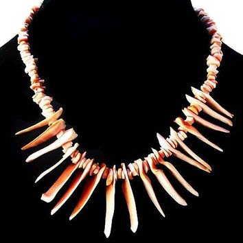 "Branch Coral Necklace Single Strand Pink Red Coral Shells Barrel Clasp 17"" Vintage"