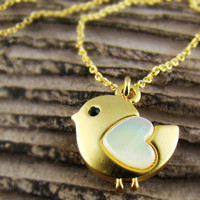 Womens Animal Lovely Heart Bird Pendant Mother-of-Pearl Heart Gold Plated Necklace Chain Nickel Free