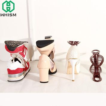 WHISM Plastic Z Shape Double Shoe Rack Living Room Space Saving Foldable Storage Shoes Organizer Stand Shelf rack chaussure