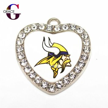 Crystal Glass Heart Minnesota Vikings Sport Hanging Dangle Charms Fit DIY Men Women Bracelet Necklace Pendant Earrings Jewelry