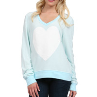 Image Enlargement of White Sparkle Heart Top in Bleached Aqua by Wildfox Couture