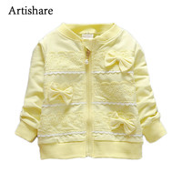 Artishare Baby Coat 2017 Fashion Spring Cotton Clothes For Baby Girls Wear Lace Bow Jacket Baby Infant Outerwear 0 to 24 M