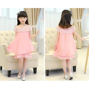 New Summer Costume Girls Princess Dress Childrens Evening Clothing Kids Chiffon Lace Dresses Baby Girl Party Pearl Dress