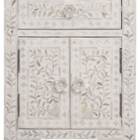 Floral Pattern White Bone Inlay BedSide
