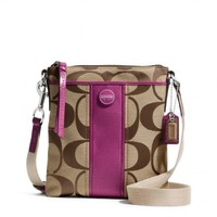 Coach 48806 Khaki & Passion Berry Signature Stripe Swingpack