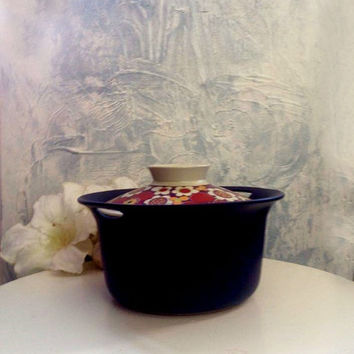 Scandinavian Modern  Figgjo Flint Norway Turi Design ' Maja' Covered Cassserole 1960s Flowers