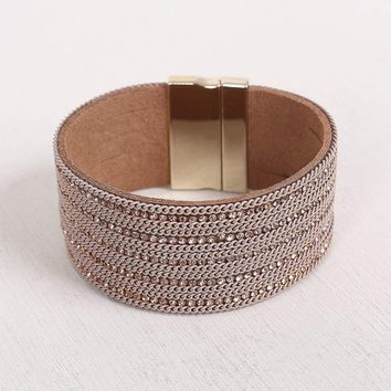 Wide Band Rhinestone Curb Links Bracelet