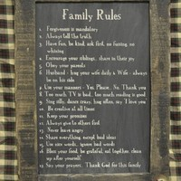 "CWI Gifts Family Rules Blackboard on Distressed Slate with Stained Wooden Frame, 8.5"" x 12.5"""
