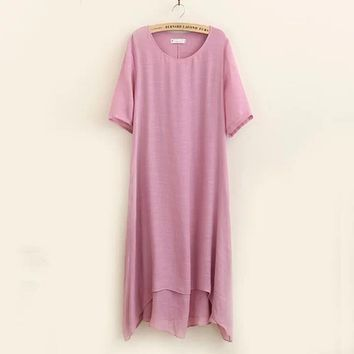 Summer cotton women linen dress 4XL double layer loose clothing pocket o-neck solid color short sleeve Casual Plus size dress