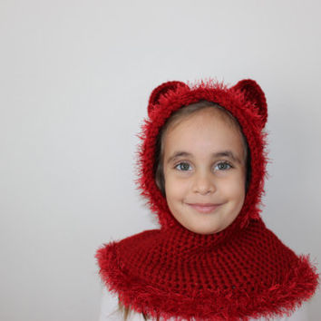 Bear Hooded Cape Kids Hooded Cowl Chunky Kids Cape Knitted Red Cowl Animal Hoodie Bear Ear Hat Express Shipping
