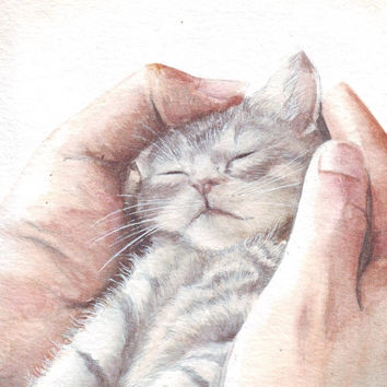 HM078 Watercolor art painting Little Cat in Hands by Helga McLeod