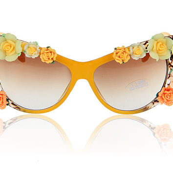 Rack Handcrafts Cats Floral Sunglasses [6047692993]
