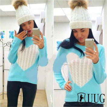 Heart Pattern Long Sleeve Knit Sweater
