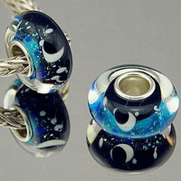 Sky Crescent Moon Stars Murano Lampwork Glass Bead Charm Silver Core For European or pandora Charm Bracelet