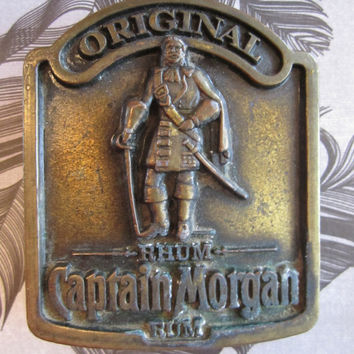 Original Captain Morgan's Rum Brass Belt Buckle  70s