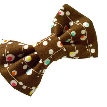 Brown bow - mini fabric bows - 4 inch hairbow with a fun bubble print - on a french barrette or alligator clip - fall accessories