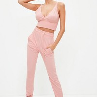 Missguided - Pink Bralette & Joggers Lounge Set