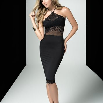 Over You Black Halter Dress