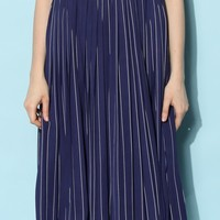 Easy Stripes Pleated Chiffon Skirt in Navy