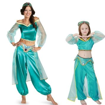 Princess Costume Adult Kids Arabian Belly Dancer Costume princess jasmine Sexy jasmine aladdin pants women costume cosplay