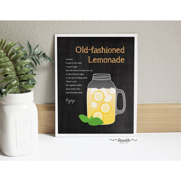 Chalkboard Kitchen Lemonade Mason Jar Recipe art print