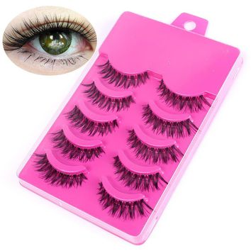 5 Pairs Long Natural Handmade False Eyelashes Makeup Decoration