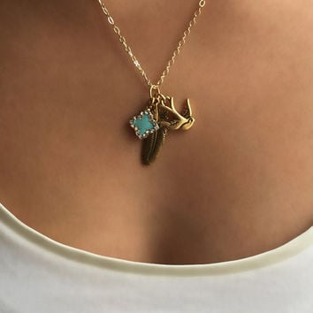 Beautiful Handcrafted Gold Filled Bird, Feather Necklace, Perfect Present For Girlfriend, Bridesmaid, Anniversary, Birthday & Graduation