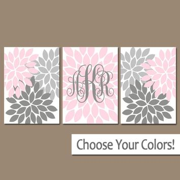 PINK GRAY Nursery Wall Art, Girl Monogram Decor, Baby Girl Flower Nursery Art, Girl Bedroom Pictures, Flower Burst Canvas or Prints Set of 3