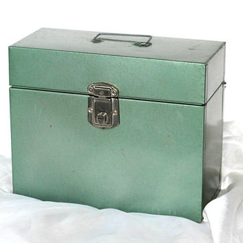 Green File Box Metal Vintage Industrial Style | Exselsior Tall File Box | Hold Manila Files | Vintage Office Home File Storage