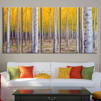 Large Wall Art Print Canvas Set Poplar Forest | Poplar Tree Canvas Wall Art | +Ready to Hang + Stretched on Deep 3cm Frame