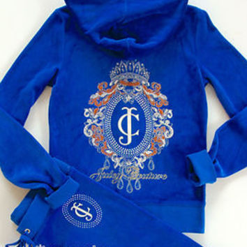 Juicy Couture Tiara Cameo Hoodie Pants Blue Velour Tracksuit Jacket Track S M