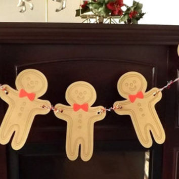 Gingerbread Man Christmas Banner, Die Cut Holiday Garland, Winter Wall Hanging, Folk Art Party Table Backdrop