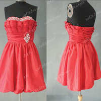 red bridesmaid dress, taffeta bridesmaid dresses, affordable ball gown, red prom dress, short homecoming dresses, evening dresses, BE0296