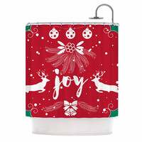 "Famenxt ""Christmas Joy"" Red Green Digital Shower Curtain"