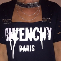 distressed Givenchy print t shirt safety pin and chain collar