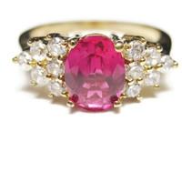 Vermeil Simulated Ruby and CZ Ring Sz 7