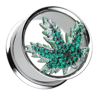 Pot Leaf Sparkling Ear Gauge Tunnel Plug
